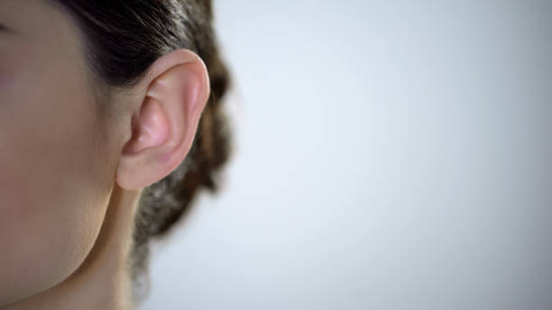 Young female ear closeup, useless rumors and disinformation, privacy intrusion Young female ear closeup, useless rumors and disinformation, privacy intrusion ear stock pictures, royalty-free photos & images