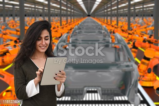 667596352istockphoto Young female engineer using digital tablet to operate Robotic Arm 1151276061