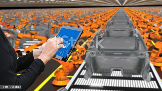 667596352istockphoto Young female engineer using digital tablet to operate Robotic Arm 1151276330
