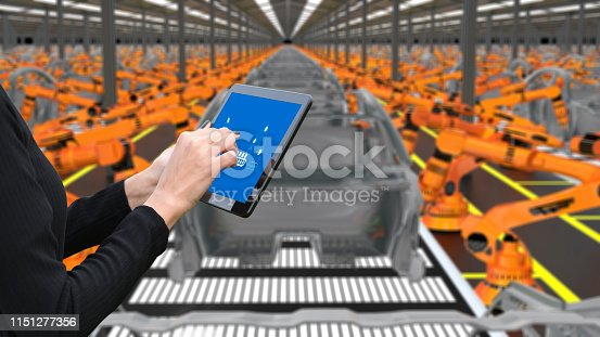 667596352istockphoto Young female engineer using digital tablet to operate Robotic Arm 1151277356