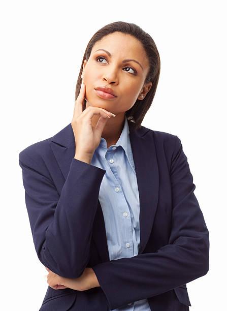 Junge weibliche Executive In tiefe Gedanken-isoliert – Foto