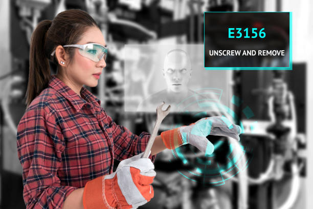 young female farmer use ar glasses artificial intelligence adviser to fix industrial machine and holding open end wrench with graphic. augmented reality glasses technology , industry 4.0 concept. - augmented reality stock photos and pictures