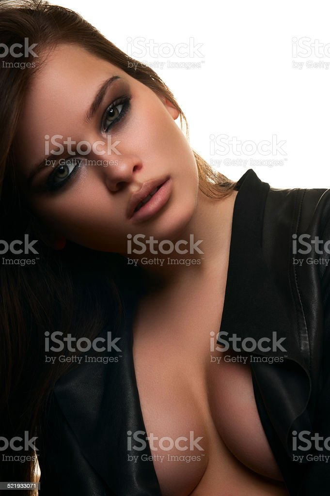 Young female fashion model with big boobs stock photo