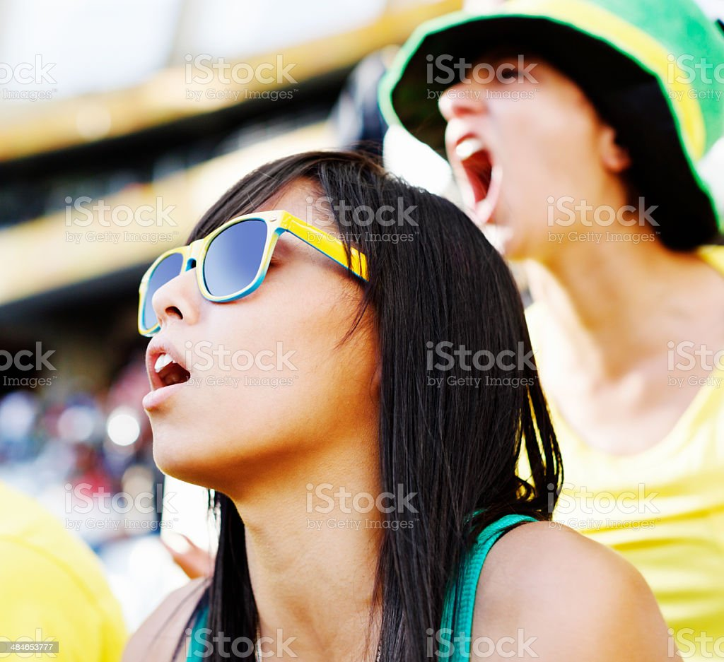 Young female football fans are totally involved at a game stock photo