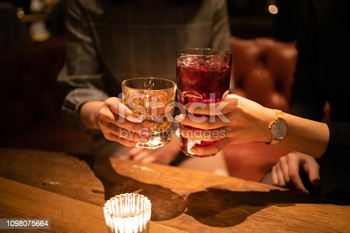 Young female friends toasting glass after work