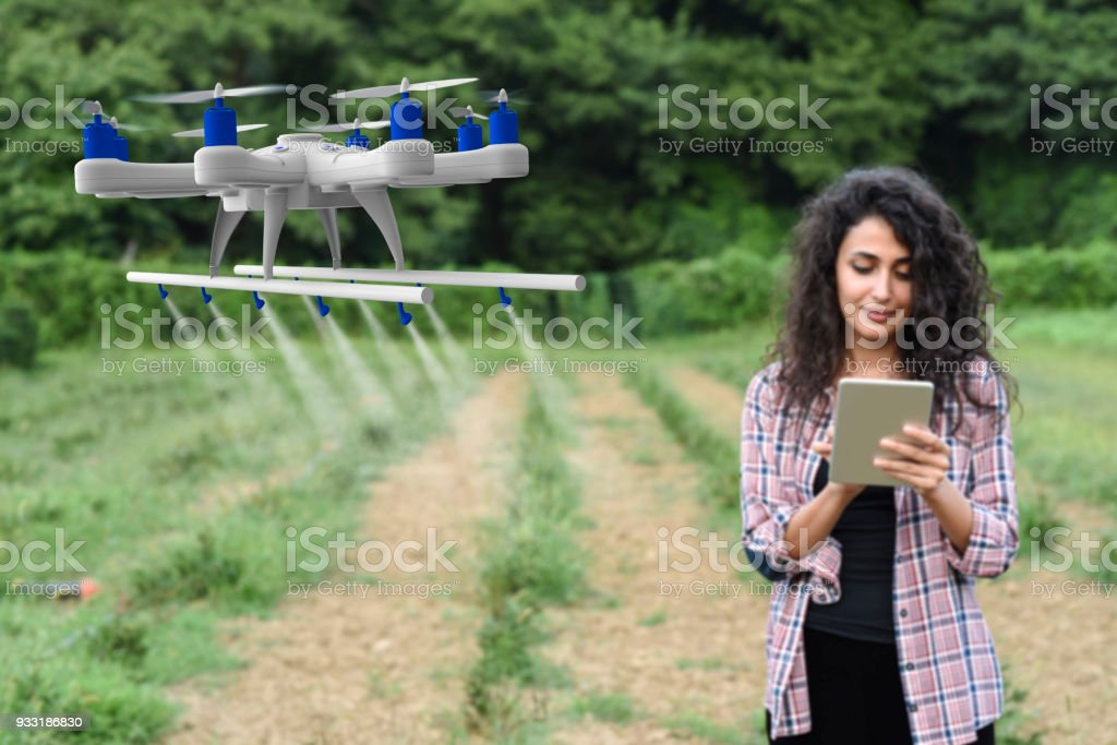 Young female gardener spraying his crops using a drone stock photo