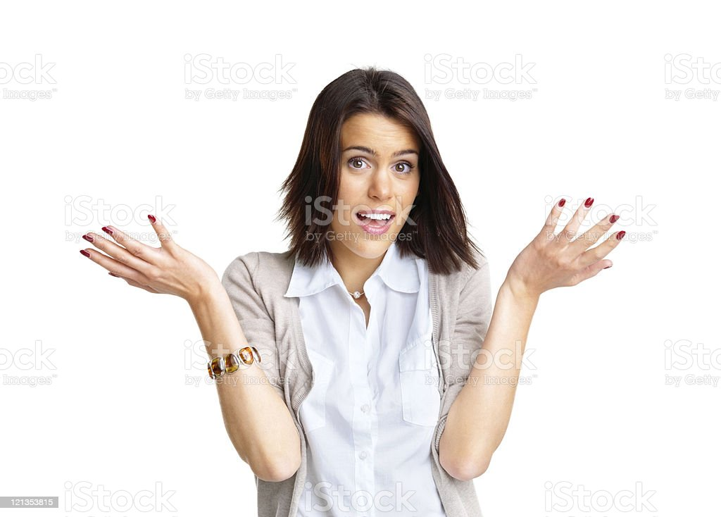 Young female gesturing do not know sign royalty-free stock photo