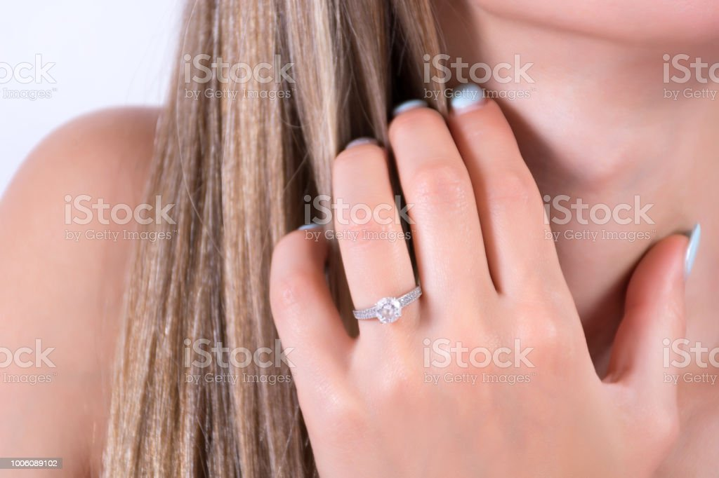 Which Hand Wedding Ring Female.Young Female Hand With Engagement Wedding Ring On Finger And Hand