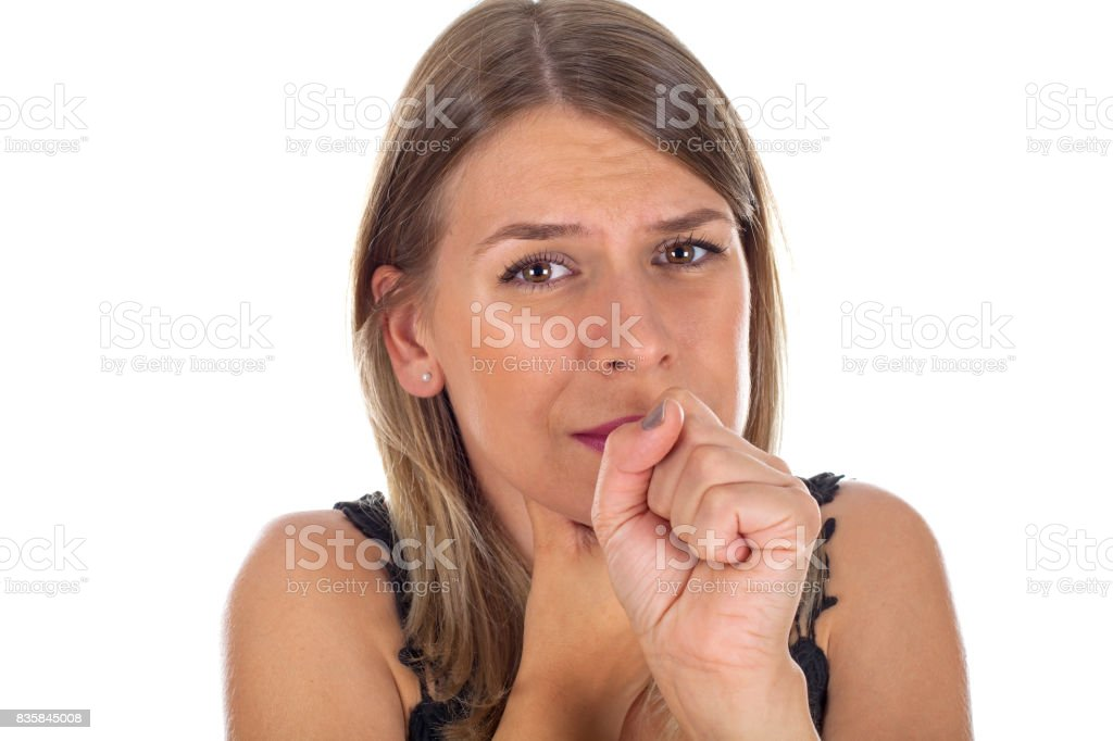 Young female having sore throat stock photo