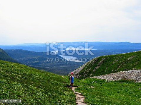 458694311 istock photo A young female hiker climbing near the summit of Gros Morne Mountain, in Gros Morne National Park, Newfoundland and Labrador, Canada.  A gorgeous green valley of mountains and lakes are behind her. 1127593210