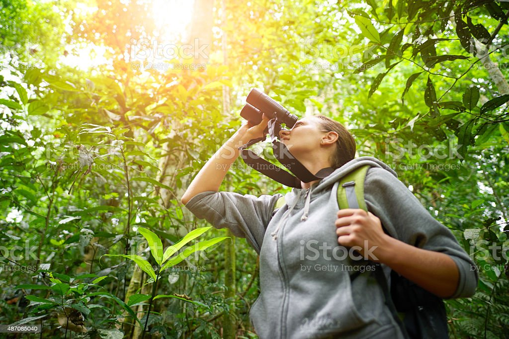 Junge weibliche wanderer durch fernglas beobachten wild lebende