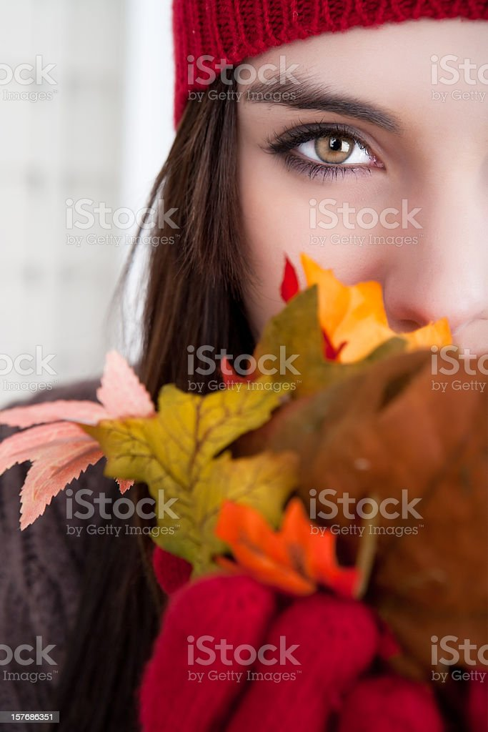 Young female holding autumn leaves royalty-free stock photo