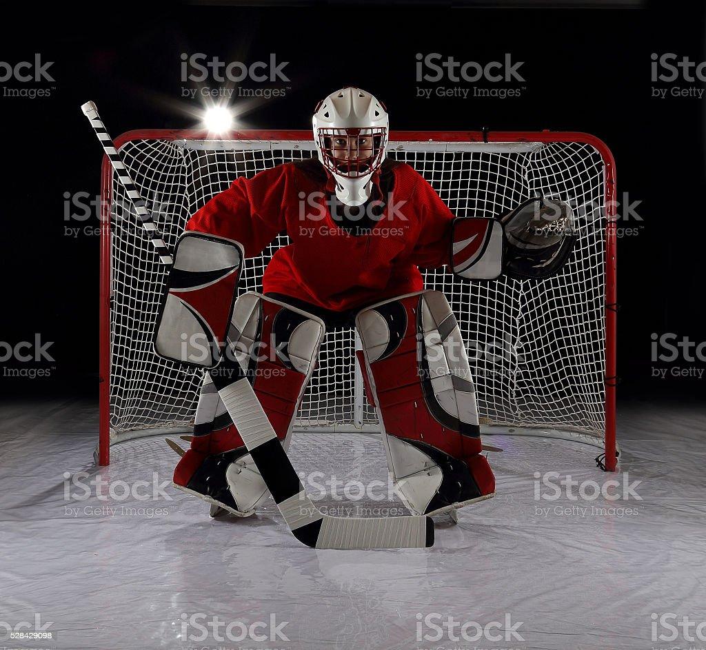 Young female ice hockey goalie. stock photo