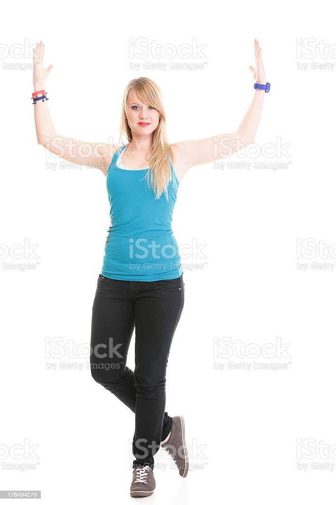 Young female in dancing pose royalty-free stock photo