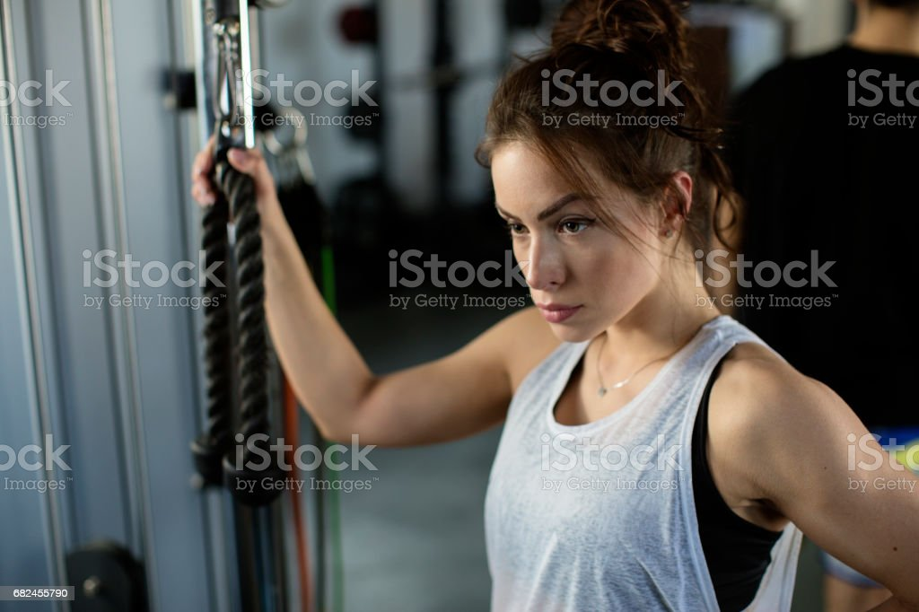 Young female in the fitness club royalty-free stock photo