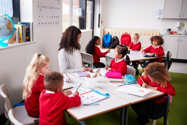 Junge Frauen Vorschule Lehrer sitzen an einem Tisch in einem Klassenzimmer mit ihren Schülern – Foto