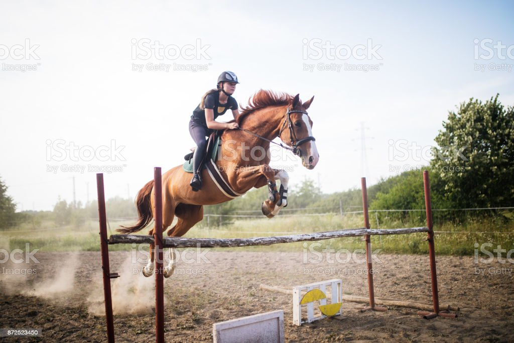 Young female jockey on horse leaping over hurdle stock photo