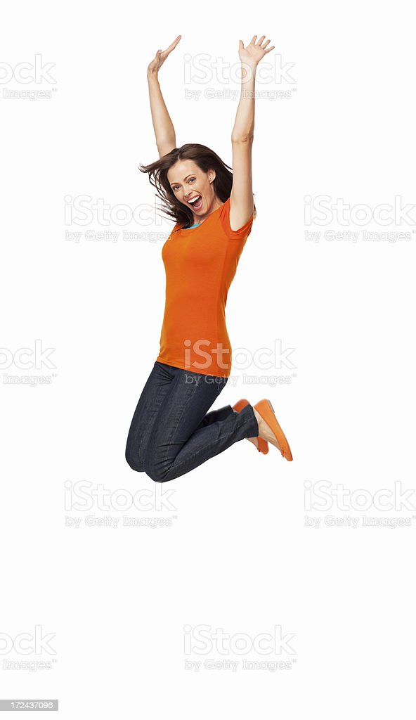 Young female jumping very high stock photo