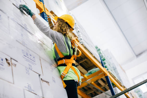 Young female manual worker hanging on a climbing rope in warehouse Young industrial high climber woman working and checking boxes in shipping manufacturing facility warehouse  XXXL safety harness stock pictures, royalty-free photos & images