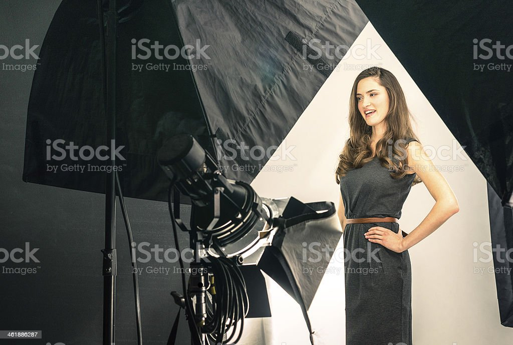 Young female model at photo shooting stock photo