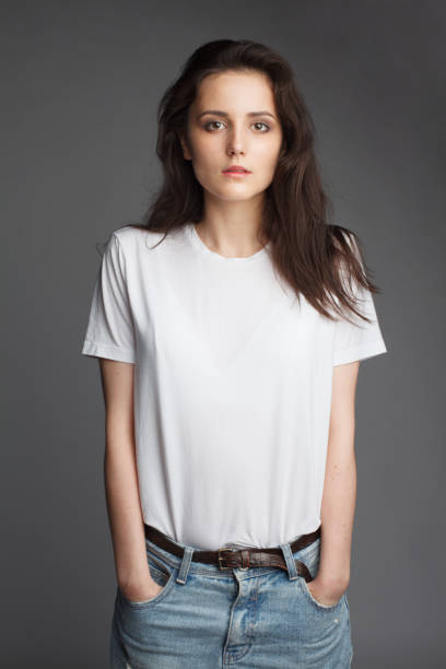 young female model in white t-shirt - white tshirt stock photos and pictures