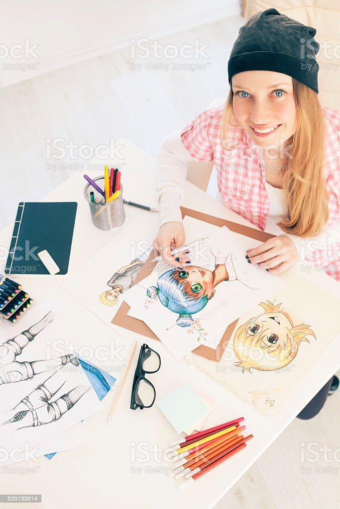 Young female painter stock photo