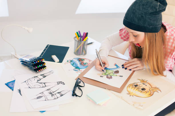 young female painter - manga style stock photos and pictures