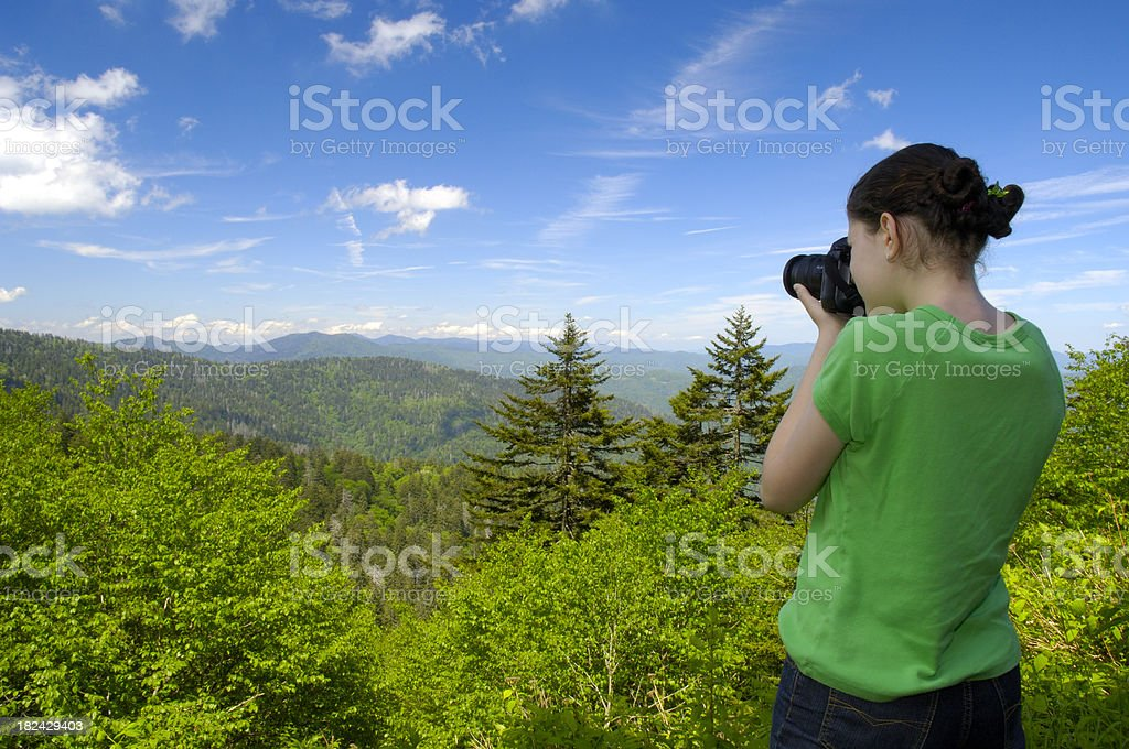 Young female photographer in Smoky Mountains royalty-free stock photo
