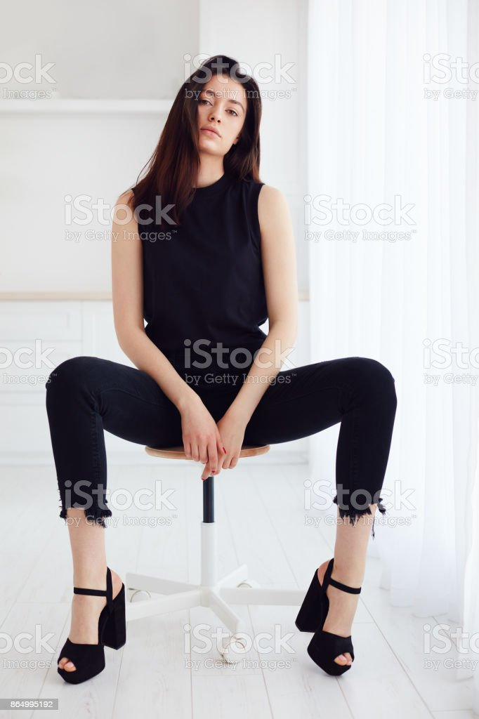 young female posing on model test photo shoot with natural day light stock photo