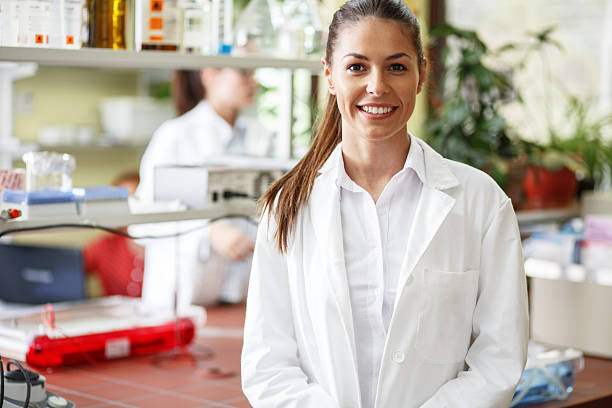 Young female scientist. stock photo