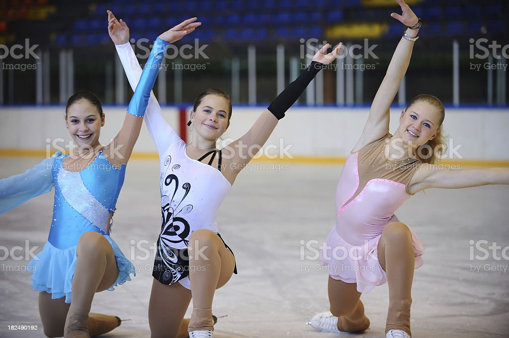 Young female skaters posing stock photo