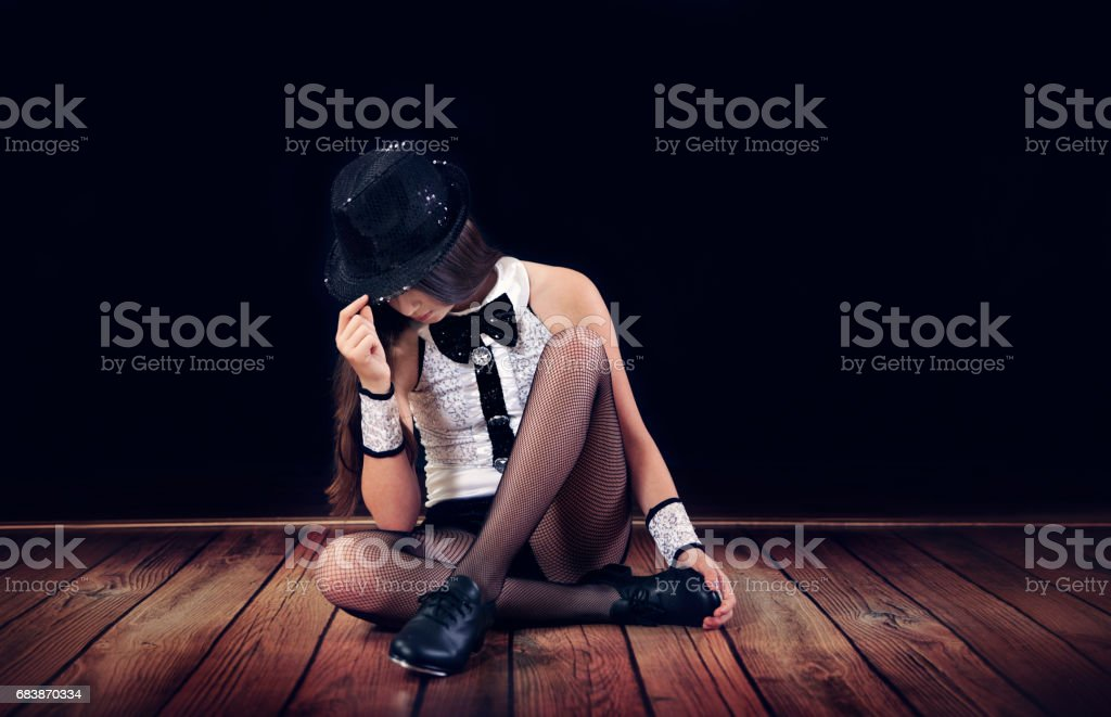 Young female tap dancer in costume. stock photo