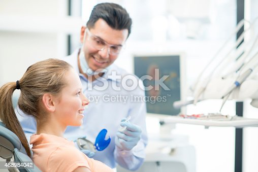istock Young Female Teenager getting Invisalign 468984042