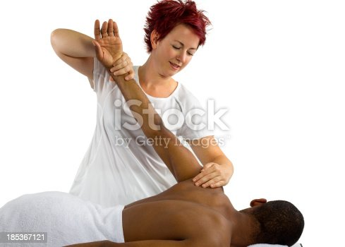 609830806 istock photo Young female therapist helping male patient 185367121