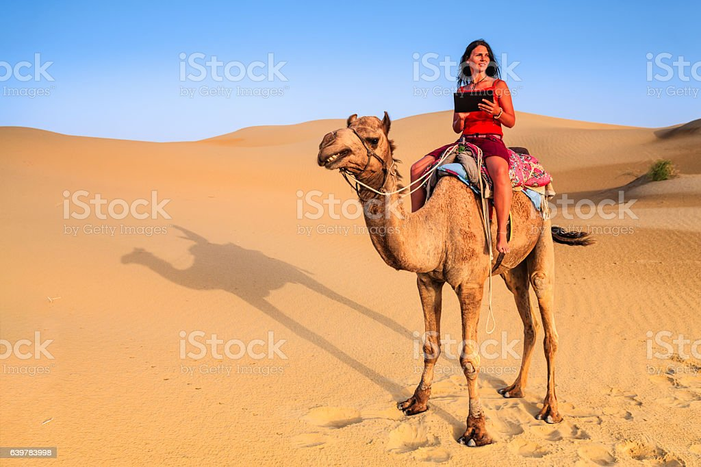 Young female tourist using digital tablet on camel, Rajasthan, India stock photo