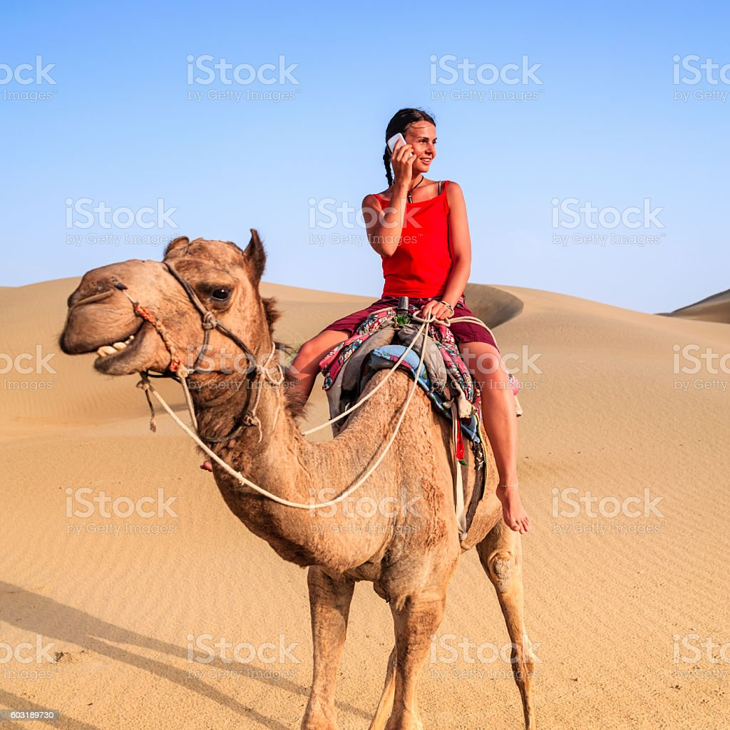 Young female tourist using mobile on a camel, Rajasthan, India stock photo