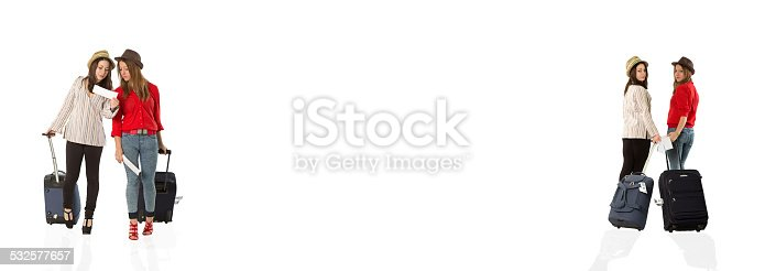 istock Young female tourists walks back and forth at the airport 532577657