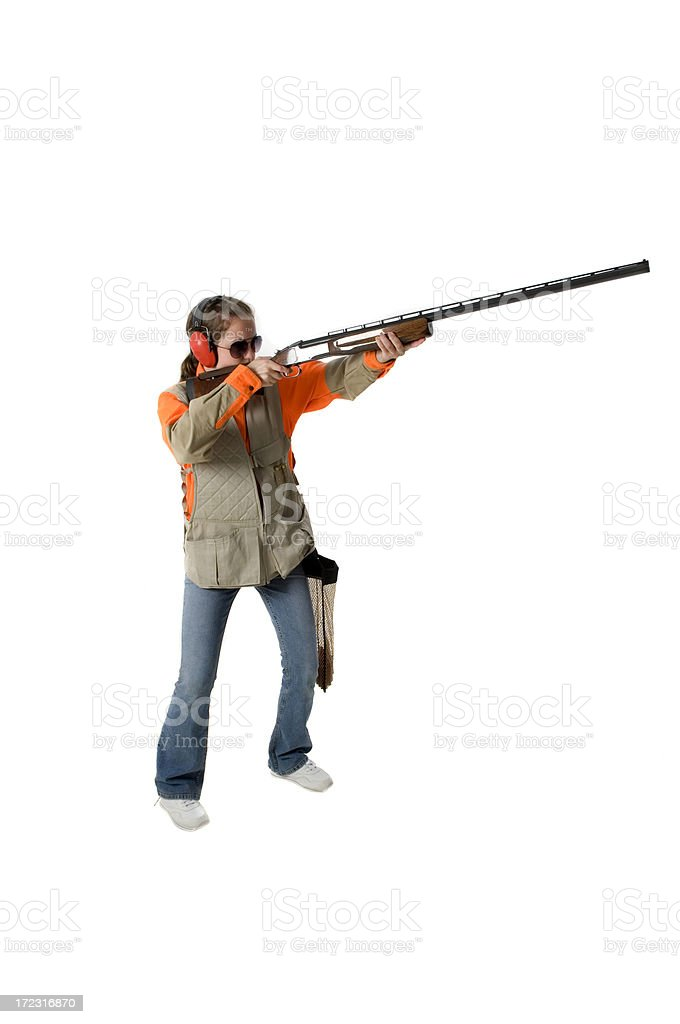 Young female trapshooter royalty-free stock photo
