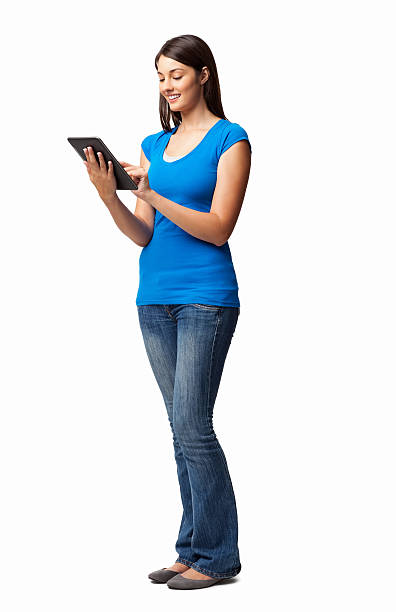 Young Female Using Digital Tablet - Isolated stock photo