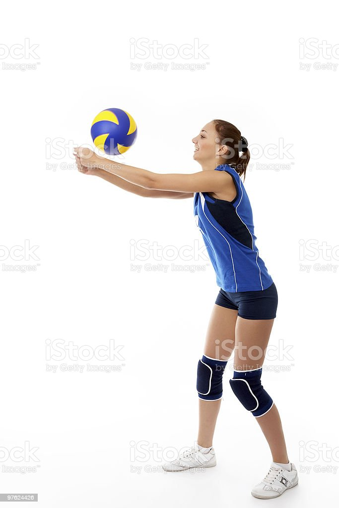 Young female volleyball player isolated on white  royalty-free stock photo