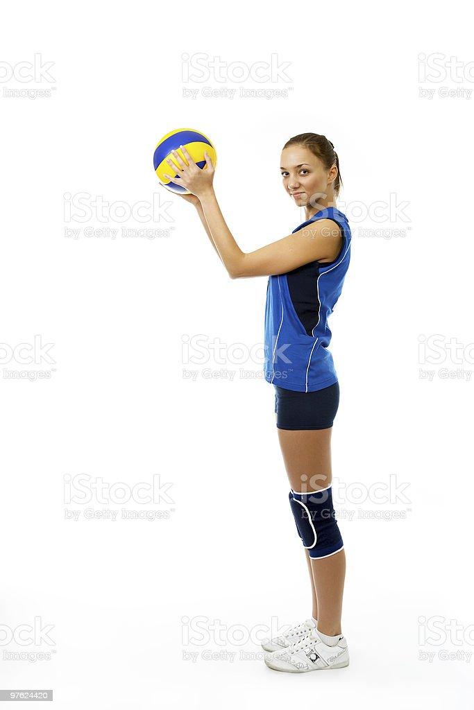 young female volleyball player royaltyfri bildbanksbilder