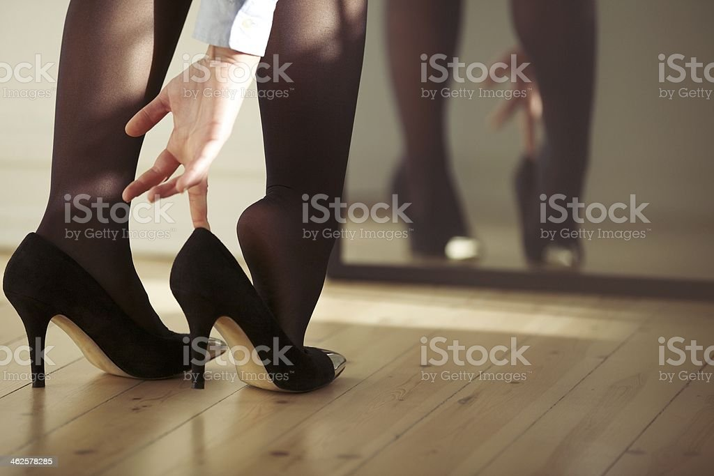 Young female wearing high heels stock photo