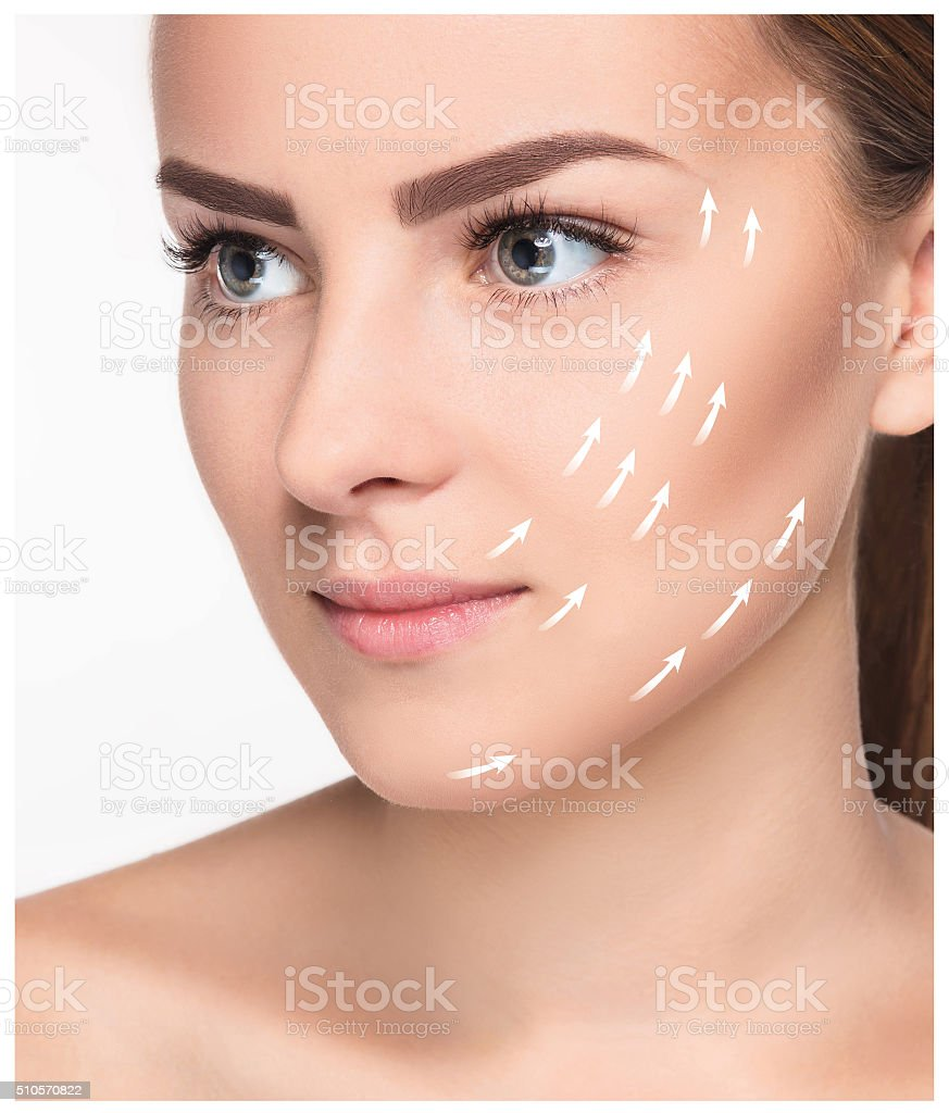 Young female with clean fresh skin stock photo