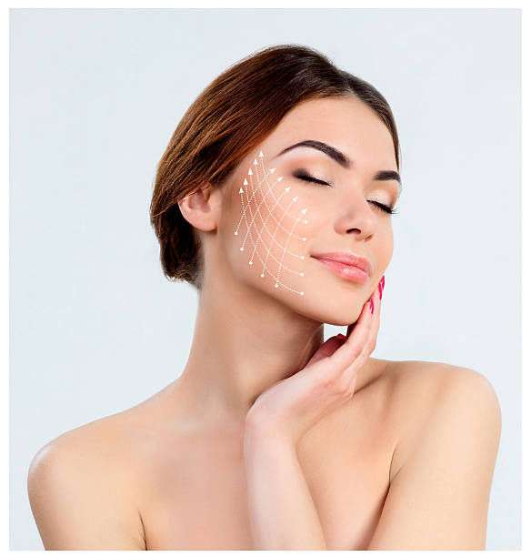 Young female with clean fresh skin The young female with clean fresh skin, antiaging and thread lifting concept threading stock pictures, royalty-free photos & images