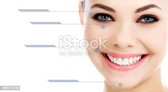 istock Young female with clean fresh skin, white background 483723245