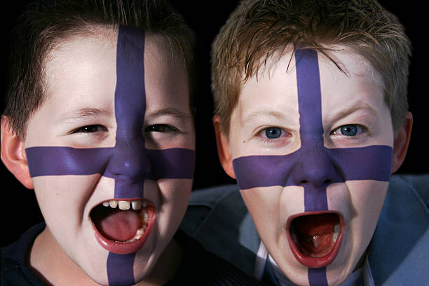 Young Finnish Football Supporters stock photo