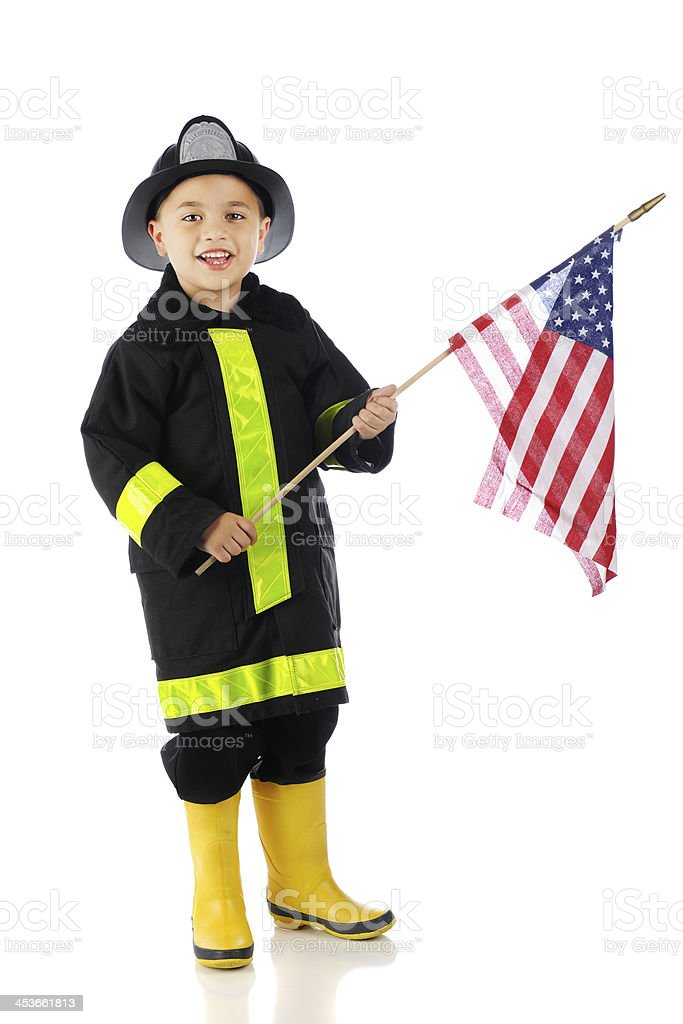 Young Fire-Fighting Flag Bearer royalty-free stock photo