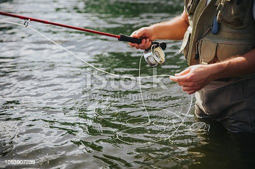 istock Young fisherman fishing on lake or river. Cut view of guy's hands holding fishing line. Preparing to catch some river or lake fish. Man stand in fresh water. 1263907239
