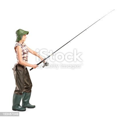 istock Young fisherwoman posing 153487049