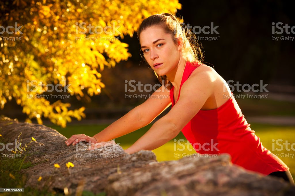 Young Fit Woman Doing Push Ups In The Park - Royalty-free Adult Stock Photo